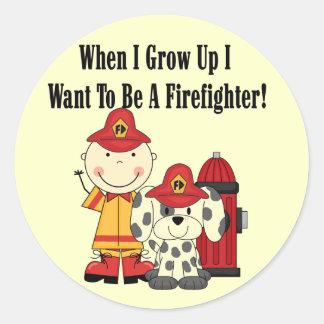 Quiero ser camisetas y regalos de un bombero pegatina redonda