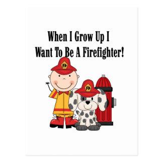 Quiero ser camisetas y regalos de un bombero tarjetas postales