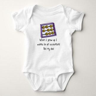 Quiero ser contable como la camiseta del bebé del mameluco de bebé