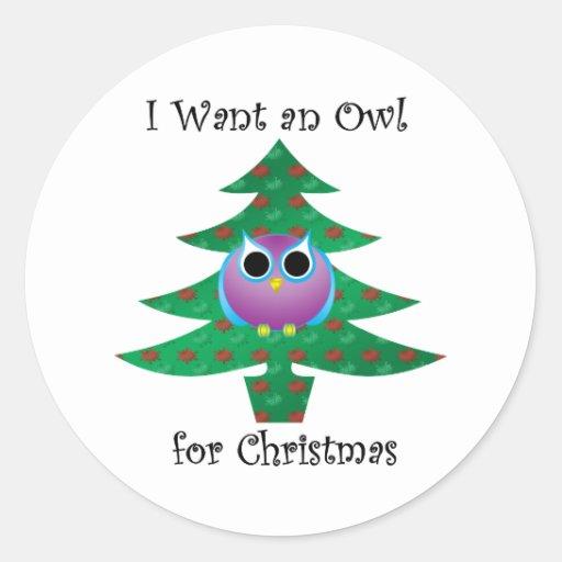 Quiero un búho para el navidad pegatina redonda
