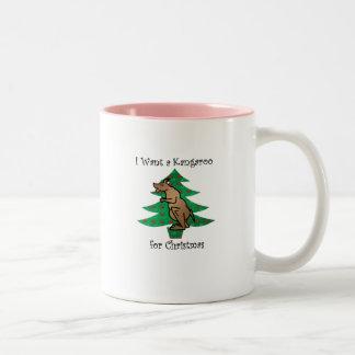 Quiero un canguro para el navidad taza de dos tonos