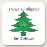 Quiero un cocodrilo para el navidad posavasos de bebida