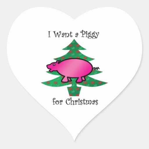 Quiero un guarro para el navidad calcomanías corazones personalizadas