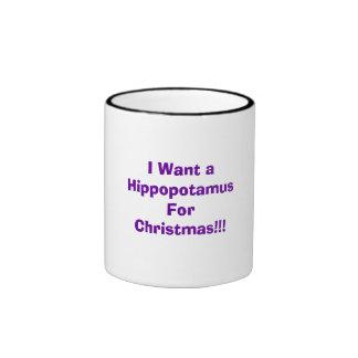 ¡Quiero un Hippopotamus para el navidad!!! Taza De Dos Colores