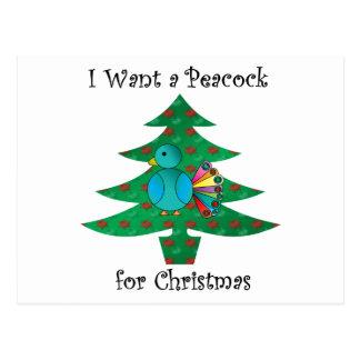 Quiero un pavo real para el navidad tarjeta postal