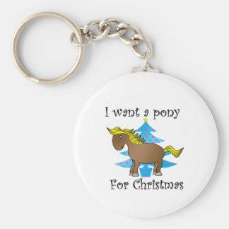 Quiero un potro para el navidad llavero redondo tipo pin