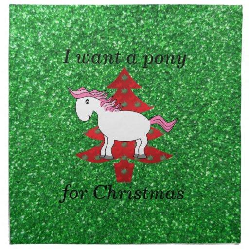 Quiero un potro para el navidad servilletas de papel