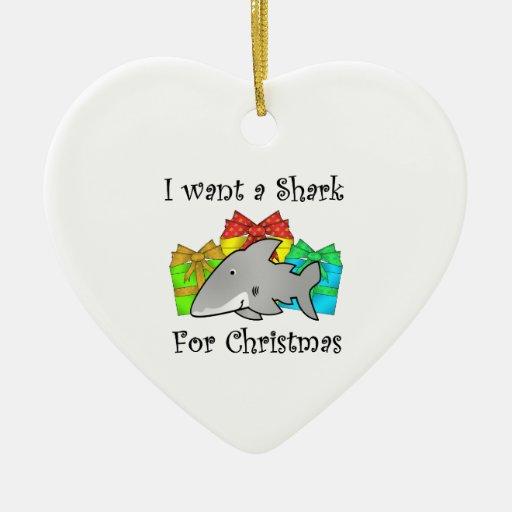 Quiero un tiburón para el navidad adornos de navidad