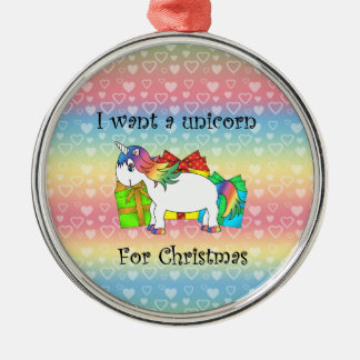 Quiero un unicornio para el navidad en corazones adorno redondo plateado