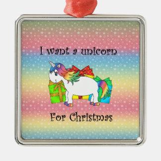 Quiero un unicornio para el navidad en las ornamentos de navidad