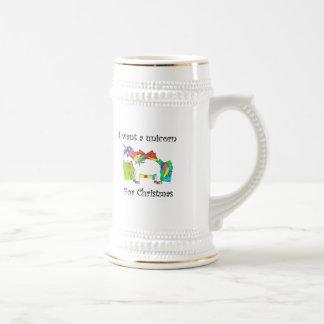 Quiero un unicornio para el navidad jarra de cerveza