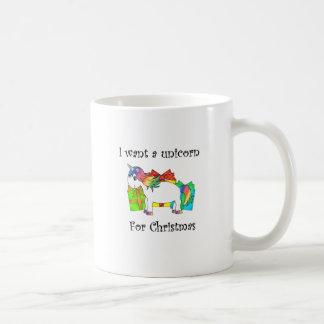 Quiero un unicornio para el navidad taza básica blanca