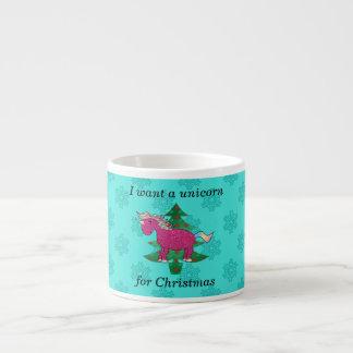 Quiero un unicornio para el navidad taza espresso