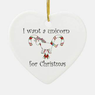 Quiero un unicornio para los bastones de caramelo adorno navideño de cerámica en forma de corazón