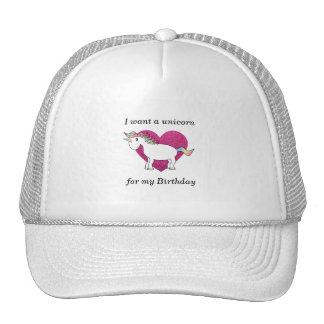 Quiero un unicornio para mi cumpleaños gorros bordados