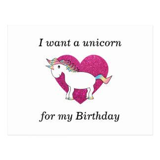 Quiero un unicornio para mi cumpleaños postal