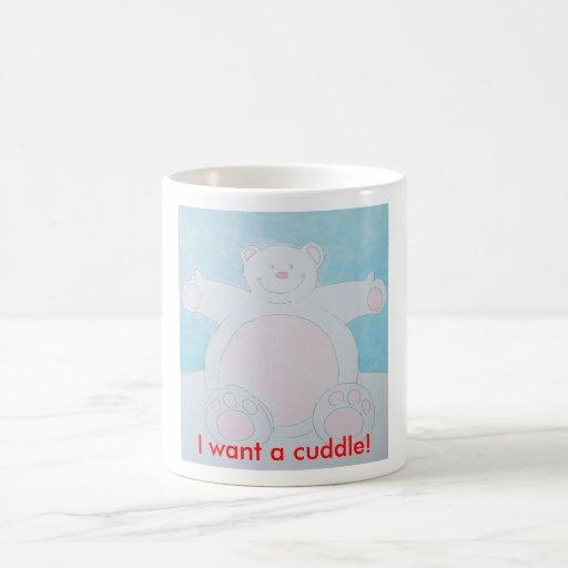 ¡Quiero una abrazo! Taza Básica Blanca