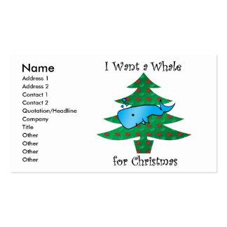 Quiero una ballena para el navidad tarjetas de visita