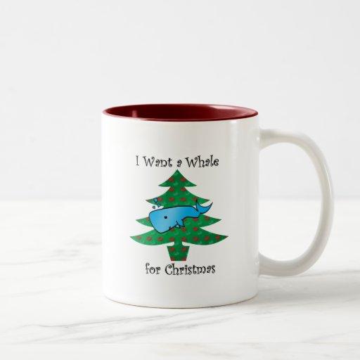 Quiero una ballena para el navidad taza de dos tonos