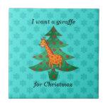 Quiero una jirafa para el navidad azulejo
