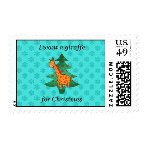 Quiero una jirafa para el navidad franqueo