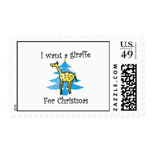 Quiero una jirafa para el navidad sello