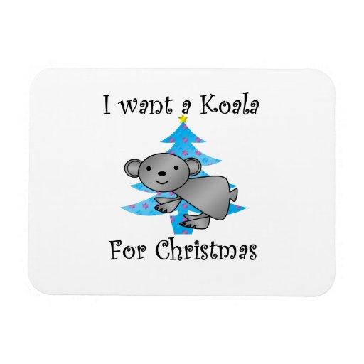 Quiero una koala para el navidad imanes de vinilo