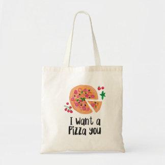Quiero una pizza usted tote bolsa tela barata
