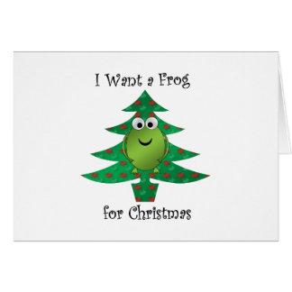 Quiero una rana para el navidad tarjeta de felicitación