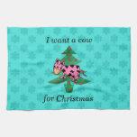 Quiero una vaca rosada para el navidad toallas de mano