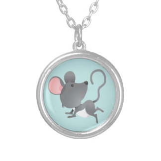 Quiet as a Mouse Cute Animal Cartoon Silver Plated Necklace