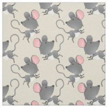 Quiet as a Mouse Cute Animal Pattern Fabric