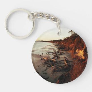 Quiet Beach Single-Sided Round Acrylic Keychain