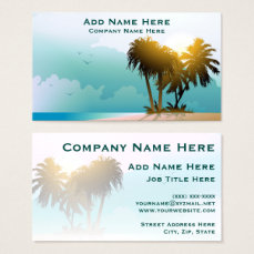 Quiet Beach With Palm Trees And Blue Water Business Card