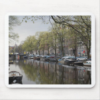 Quiet Canal Scene - Amsterdam, Holland Netherlands Mouse Pad