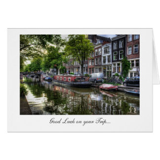 Quiet Canal Scene - Good Luck on Your Trip Greeting Card