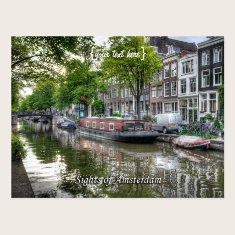 Quiet Canal Scene, Sights of Amsterdam Postcard