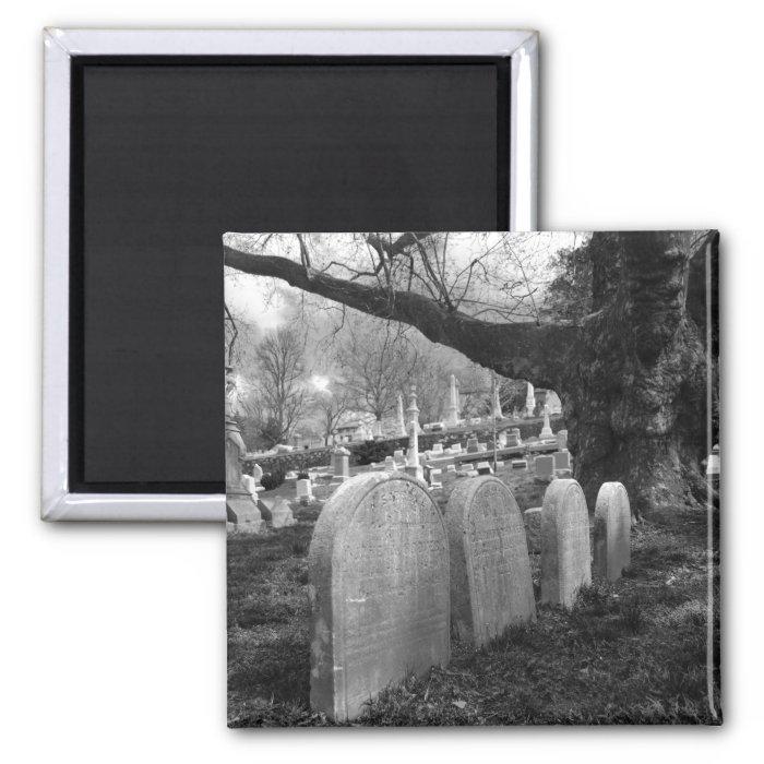 quiet cemetery 2 inch square magnet