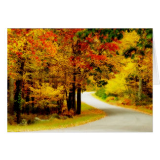 Quiet Country Lane in Autumn Card
