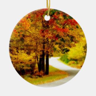 Quiet Country Lane in Autumn Ceramic Ornament