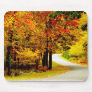 Quiet Country Lane in Autumn Mousepad