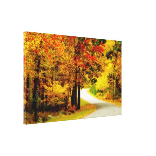 Quiet Country Lane in Autumn Wrapped Canvas