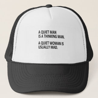 quiet man and woman trucker hat