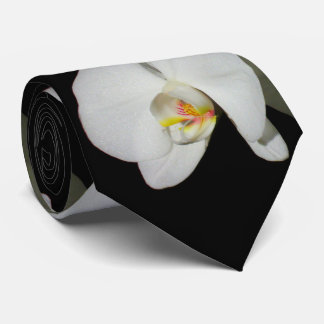 Quiet Moments -white orchids Tie
