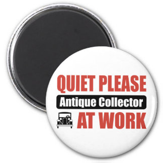Quiet Please Antique Collector At Work 2 Inch Round Magnet