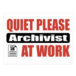Quiet Please Archivist At Work Postcard