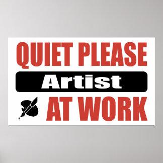 Quiet Please Artist At Work Poster