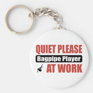 Quiet Please Bagpipe Player At Work Basic Round Button Keychain