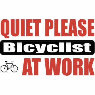 Quiet Please Bicyclist At Work Cutout
