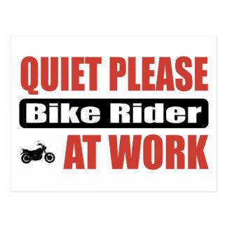 Quiet Please Bike Rider At Work Post Cards